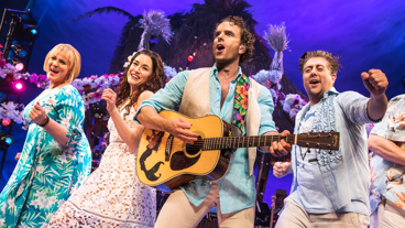 Lisa Howard as Tammy, Alison Luff as Rache, Paul Alexander Nolan as Tully and Eric Petersen as Brick in Escape to Margaritaville.