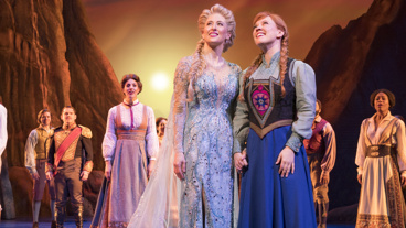 Caissie Levy as Elsa, Patti Murin as Anna and the cast of Frozen.