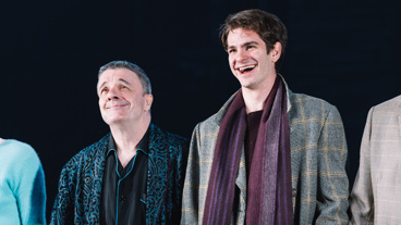 Angels in America stars Nathan Lane and Andrew Garfield take in the applause on opening night.