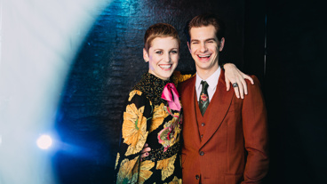 Denise Gough and Andrew Garfield play Harper Pitt and Prior Walter